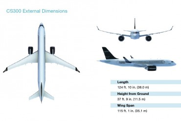2013-08-31_02_Bombardier CS300 Aircraft Airplane Dimensions