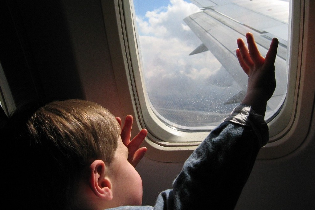 Child Window Aeroplane Airplane Passenger Jet